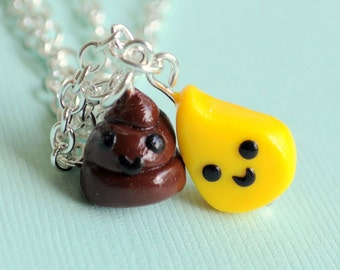Best Friend, Best Friend Necklaces, Clay Best Friend Necklaces, Friend Necklaces, Pee and Poop Necklaces, Kawaii Pee and Poop Charms