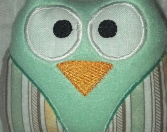 Plush Baby Owl Toy, Embroidered Eyes, Wings and Beak