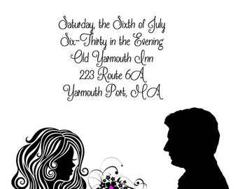 Silhouette Engagement Party Invitations