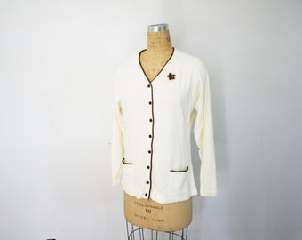 vintage 60s Ivory and Chocolate Brown Cardigan with Floral Pin