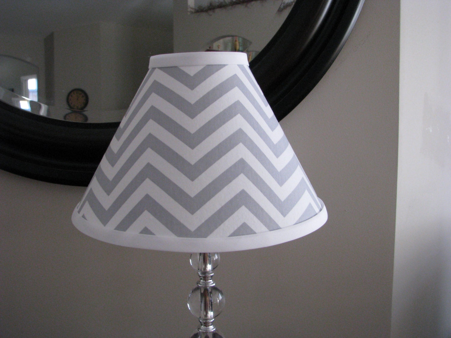 Lamp shade Grey Chevron