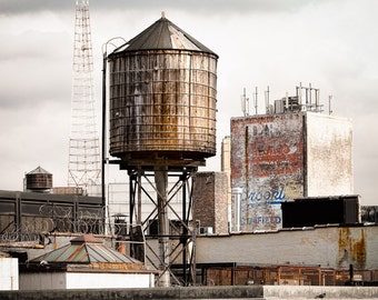 New York Water Tower 16 - NY Scenes Industrial Wall Art, Urban Scenes, Free Shipping, Old Building, Color Photography print