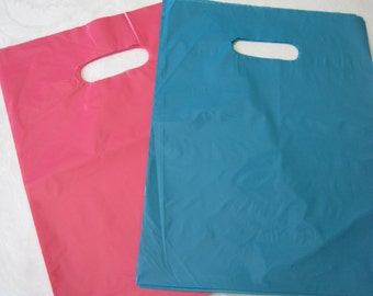 Pink Plastic Bags, Blue Plastic Bags, Hot Pink Bags, Teal Blue Bags, Gift Bags, Merchandise Bags, Favor Bags, Bags with Handles 9x12 Pack 50