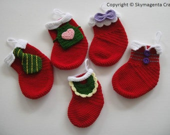 Crochet Pattern - FAMILY CHRISTMAS SOCKS - deco - pdf (00467)