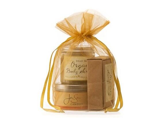 3-Piece Handmade Spa Gift Set in Organza Bag, Free Shipping