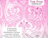 The Pink - Cute, Clean, Modern, Pink/Grey Flamingos Peacocks Premade Etsy Graphics Shop Set
