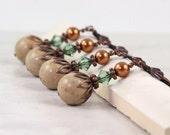 Copper Pearl Earrings Woodland Jewelry Fall Fashion Jewelry Forest Green Earrings Bridal Jewelry Beach Wedding Riverstone Earrings Bohemian