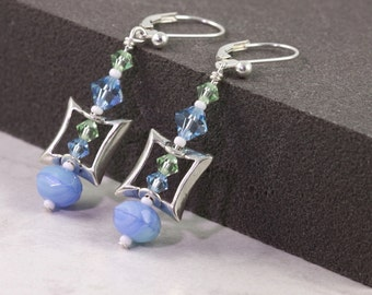 Aquamarine Earrings Blue Crystal Jewelry Light Green Earrings Sterling Silver Jewelry Light Blue Mint Green White Dangle Jewelry for Her