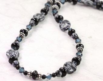 Snowflake Obsidian Necklace Indigo Blue Black Onyx Necklace Gemstone Jewelry Gray Blue Crystal Jewelry Sterling Silver Black Necklace