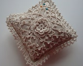 Pin Cushion - Crochet Rose, Lace  and  Linen