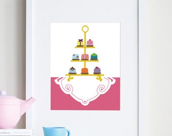 Food art print, baby girl nursery art, pretty petit fours - different sizes and colors available
