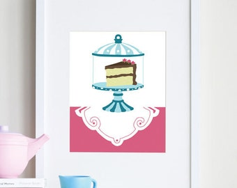 Girl nursery room decor, cake, 8x10 dessert art - different sizes and colors available