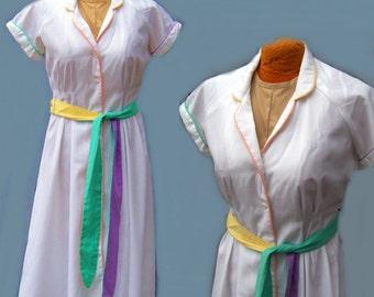 Dress 70s vintage pastel trim white cotton small