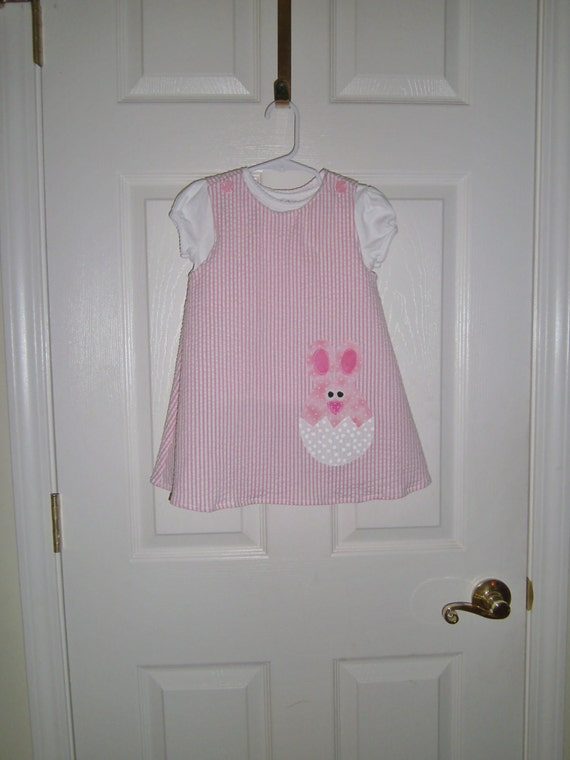 Easter Dress, Handmade Dress,  Pink Dress, Baby Bunny Dress, Infant Dress, Toddler Dress,  Preteen Dress , Cotton Dress,   Jumper
