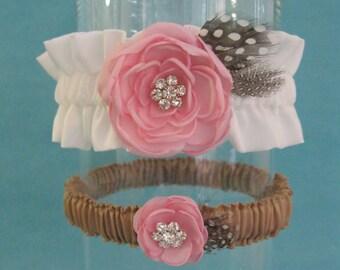 Pink, Ivory, Satin Wedding Flower Garter Set F157 - bridal feather garter accessory