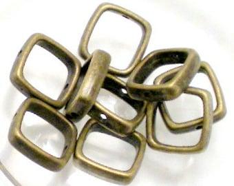 18 Square Bead Frames 13.5mm Antiqued Solid Brass BD-98AGP