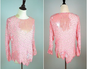 Vintage SILK CHIFFON beaded blouse / Art Deco beaded and sequin blouse