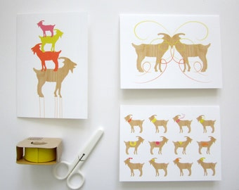 Goat Cards, Notecards, 5 Card Pack, Assorted Goat Cards, Greeting Card Pack, Blank Cards