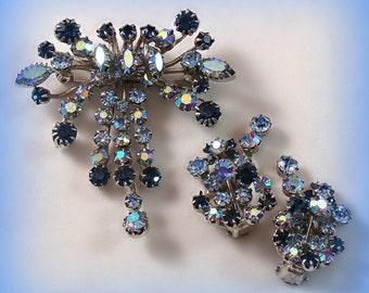 Vintage Rhinestone Karu Arke Brooch & Earrings Jewelry Set AB Blue 1950s