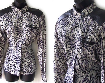 80s Animal Print with Black Leather Accents Blouse M