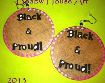 Black & Proud Earring ( Woodstain)