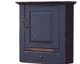 Primitive farmhouse wall cabinet cupboard furniture painted old black rustic country Early American reproduction