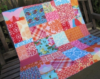 34x39 Modern Butterflies Random Patchwork and Minky Blanket Ready to Ship