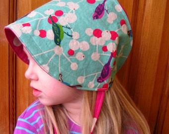Reversible Cotton and Linen Bonnet - Etsuko Furuya - Cherry- Aqua -custom size