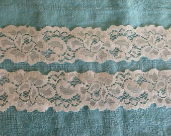 IVORY LARGE FLORAL Stretch Lace-1 1/2 inch -5 yards