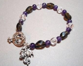 Dragons Secret - Amethyst Smokey Quartz and Clear Quartz Crystal Dragon Charm Toggle Clasp Bracelet