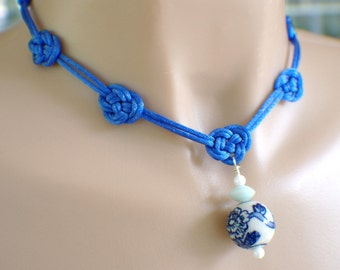 Bright blue satin Chinese knot necklace white china hand painted bead pendant set with earrings royal blue cobalt chrysanthemum 17 inch ""