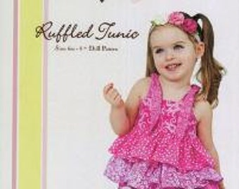SALE Little Lizard King - Ruffled Tunic sizes 6m - 8 - PLUS Matching Doll Pattern - Ships FREE with any fabric purchase