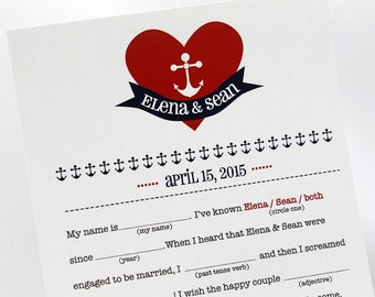 Anchor in Heart Wedding Mad Libs PDF FILE Print Yourself Colors are Customizable HILARIOUS Fun