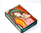 Loving Mother - Aceo Giclee print mounted on Wood (2.5 x 3.5 inches) Folk Art  by FLOR LARIOS