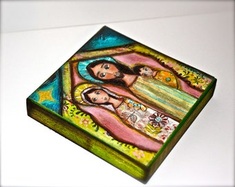 Nativity Night - Giclee print mounted on Wood (4 x 4 inches) Folk Art  by FLOR LARIOS