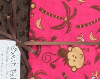 Large Pink Monkeys Flannel and Brown Minky Dot Baby Blanket - 34 X 40