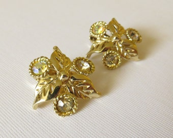 Vintage Rhinestone and Aurora Borealis Clip On Goldtone Earrings with Leaves