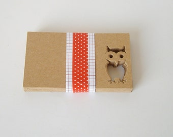 40 Blank kraft business cards with an owl cut out, thank you card, mini card, note card, blank card,blank gift card, owl card, small card