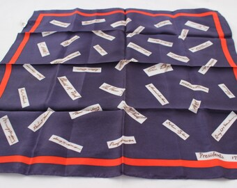 Vintage Signature Presidents Bicentennial Scarf Red White and Blue Presidential Election Memorabilia Bicentennial Collectible