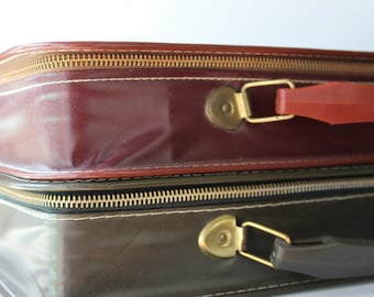 Vintage Pleather Vegan Leather Carrying Storage Cases Case with Handle Red and Green