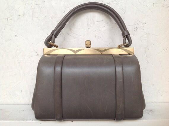 vintage rockabilly battleship gray leather box purse