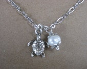 Freshwater pearl and turtle  or seahorse charm anklet Ankle bracelet