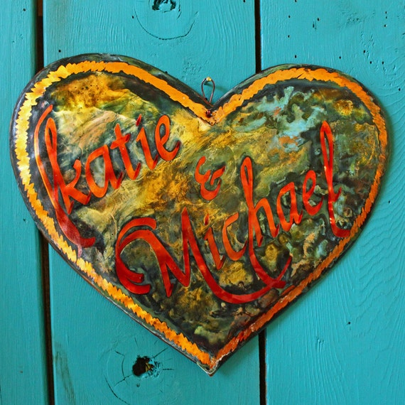 CUSTOM Copper Heart Plaque with lovers' names by Wendy and Mark - with calligraphy and verdigris green patina - OOAK