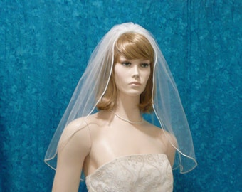"Satin ""rattail"" trimmed   Elbow length  Bridal Veil one Tier  Less Full style"
