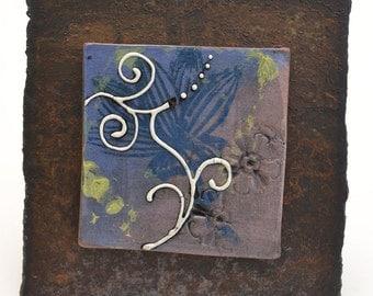 SALE - Ceramic Tile Wall Plaque (blue and light purple) - Meagan Chaney Gumpert (08-14)