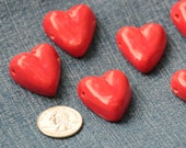 Sunset Red Pottery Heart Bead