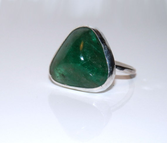 sterling silver and 10 carat emerald cabochon ring by emmybean