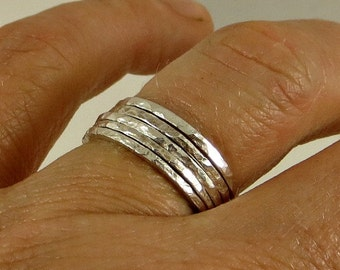 Silver Stacking Ring Bands Fine Silver 16G - Set of Five (5), Skinny Rings Eco Friendly Jewelry