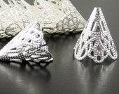 REDUCED Silver Bead Cap 50 Cones Shiny Silver Bendable Filigree 22mm x 17mm (1131cap22s1)xz