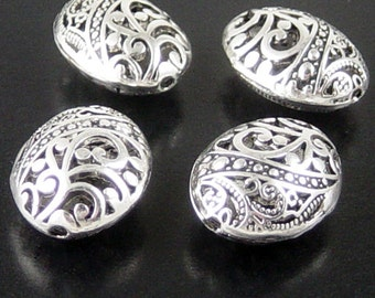 Bead Spacer 4 Antique Silver Puffy Round Oval Victorian 23mm x 18mm x 9mm (1091spa23s1)